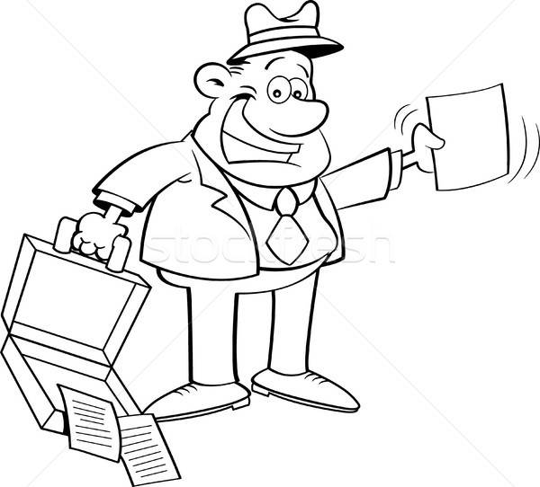 Cartoon Businessman Holding an Open Briefcase and a Paper Stock photo © bennerdesign
