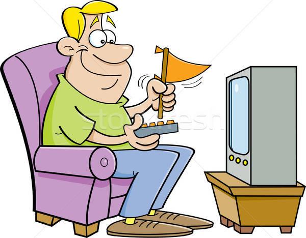 Rajz férfi tv nézés tart illusztráció sportok Stock fotó © bennerdesign
