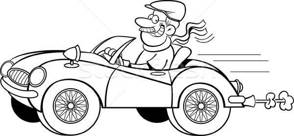 Rajz férfi vezetés sportautó feketefehér illusztráció Stock fotó © bennerdesign