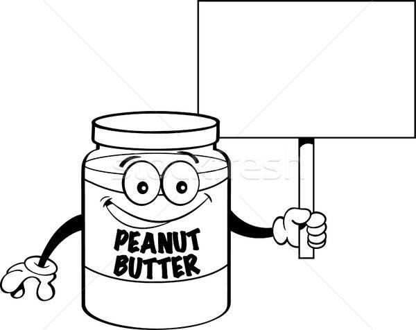 Cartoon jar beurre d'arachide signe noir Photo stock © bennerdesign