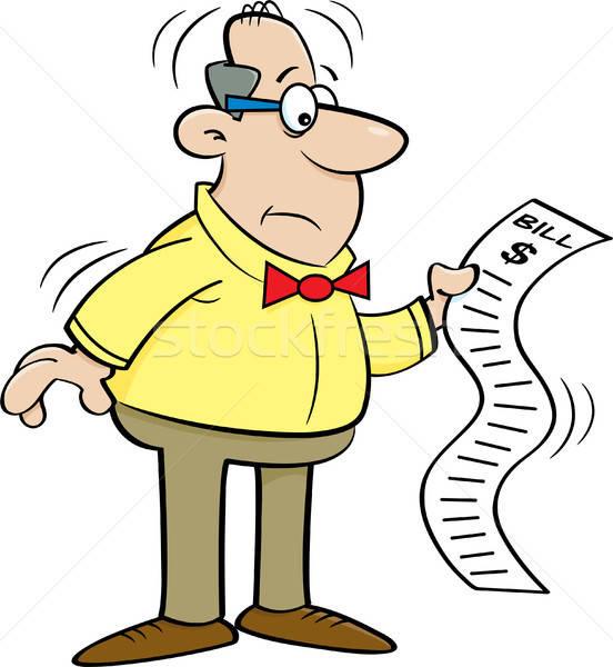 Cartoon Man Looking at a Bill Stock photo © bennerdesign