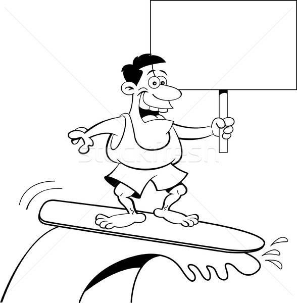 Cartoon человека серфинга знак черно белые Сток-фото © bennerdesign