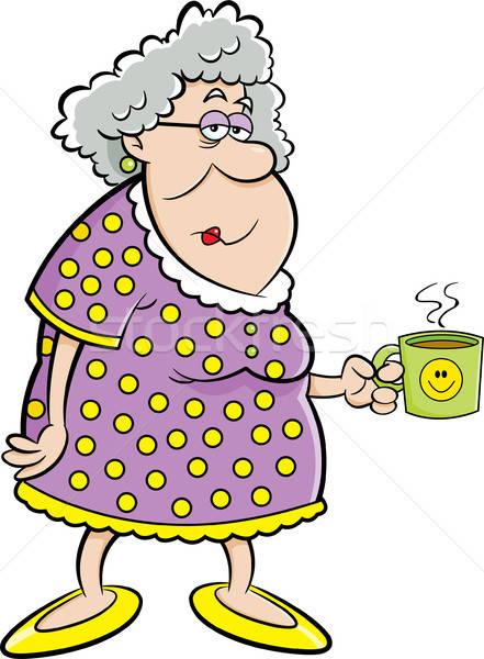 Cartoon Old Lady Holding a Coffee Mug Stock photo © bennerdesign