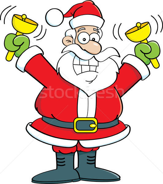 Cartoon cheerful Santa Claus ringing golden bells. Stock photo © bennerdesign
