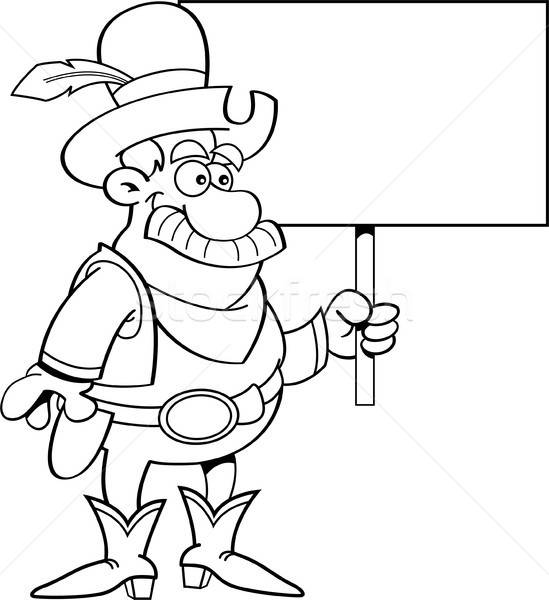 Black and white illustration of a cowboy holding a sign. Stock photo © bennerdesign