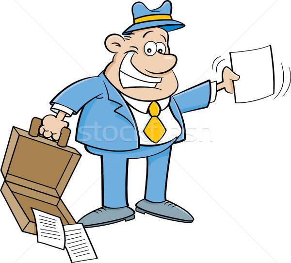 Cartoon бизнесмен открытых портфель бумаги Сток-фото © bennerdesign