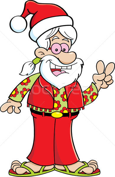 Cartoon hippie wearing a Santa hat. Stock photo © bennerdesign