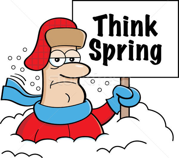 Cartoon Man Buried in Snow Holding a Think Spring Sign Stock photo © bennerdesign