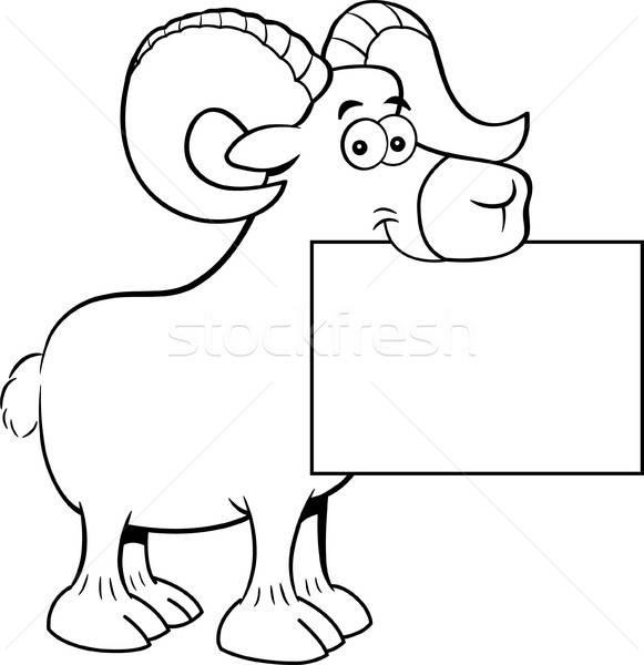 Karikatur Widder halten Zeichen schwarz weiß Illustration Stock foto © bennerdesign