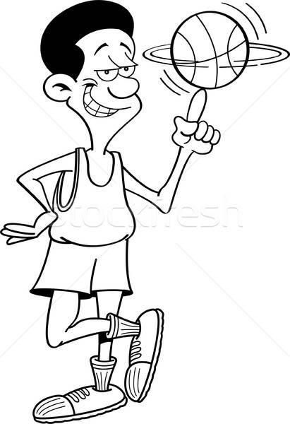 Cartoon basketball player holding a ball on his finger. Stock photo © bennerdesign