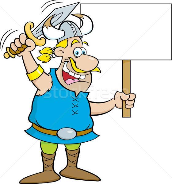 Cartoon vikingo espada signo Foto stock © bennerdesign
