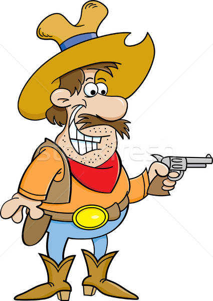 Cartoon cowboy holding a pistol. Stock photo © bennerdesign