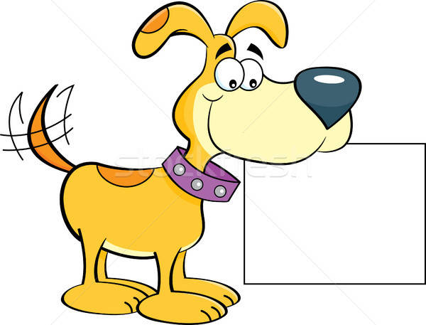 Cartoon Happy Dog Holding a Sign Stock photo © bennerdesign