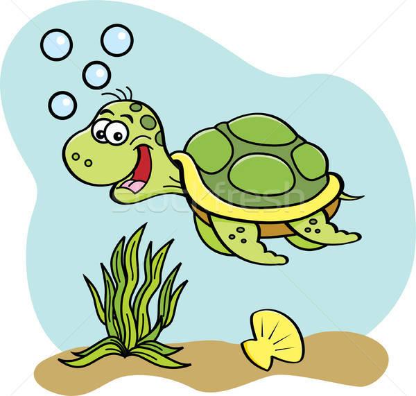Cartoon sea turtle swimming underwater. Stock photo © bennerdesign