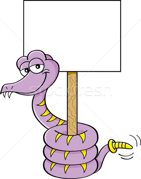 Cartoon snake holding a sign. Stock photo © bennerdesign