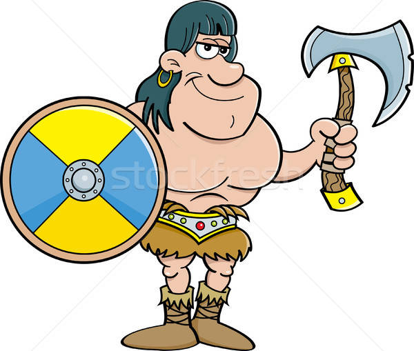 Stock photo: Cartoon barbarian with a shield and an axe.