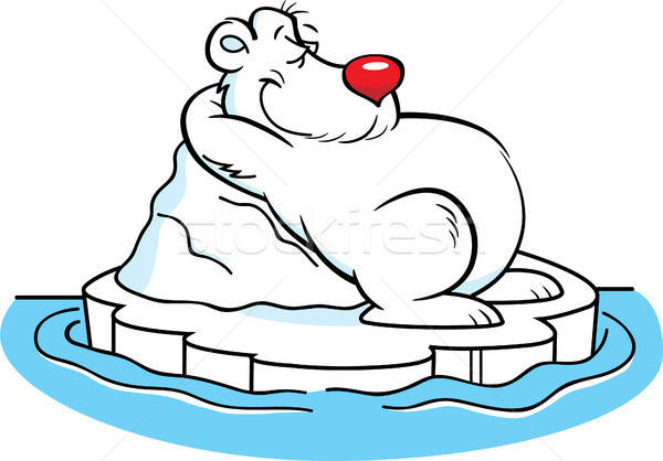Cartoon ours polaire iceberg illustration glace Photo stock © bennerdesign