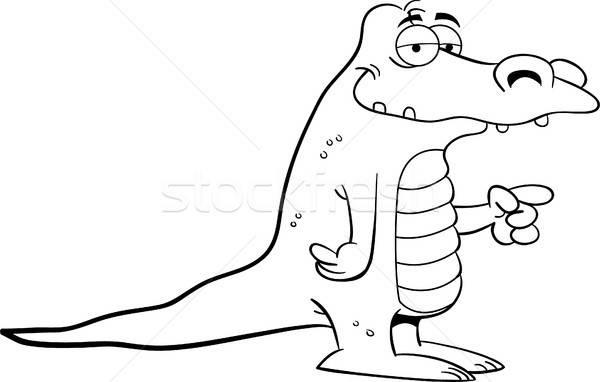 Desenho animado ilustração jacaré indicação preto e branco Foto stock © bennerdesign