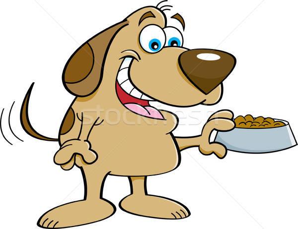 Cartoon Dog Holding a Dog Food Dish. Stock photo © bennerdesign