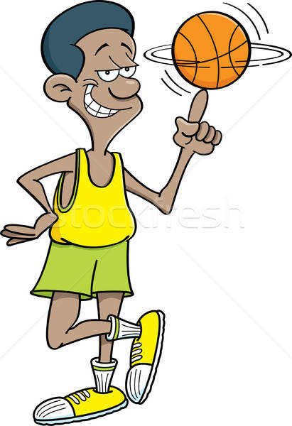 Rajz kosárlabdázó tart labda ujj illusztráció Stock fotó © bennerdesign