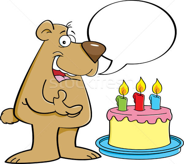 Stock photo: Cartoon bear with a speech balloon and a birthday cake.