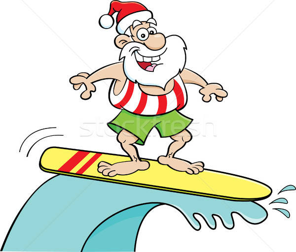 Cartoon papá noel equitación tabla de surf ilustración feliz Foto stock © bennerdesign