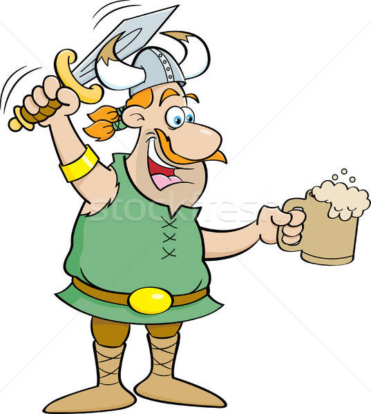 Cartoon Viking Holding a Sword and a Mug Stock photo © bennerdesign