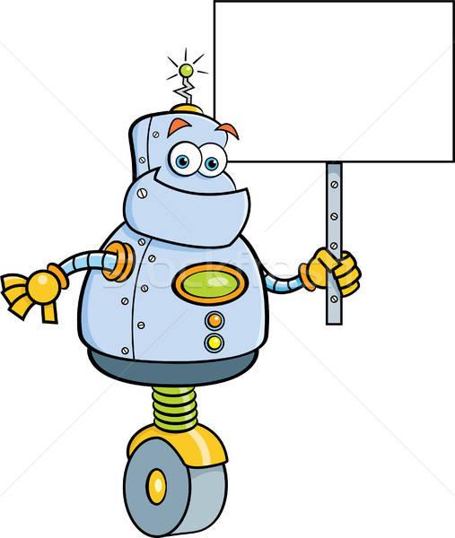Cartoon Robot Holding a Sign Stock photo © bennerdesign