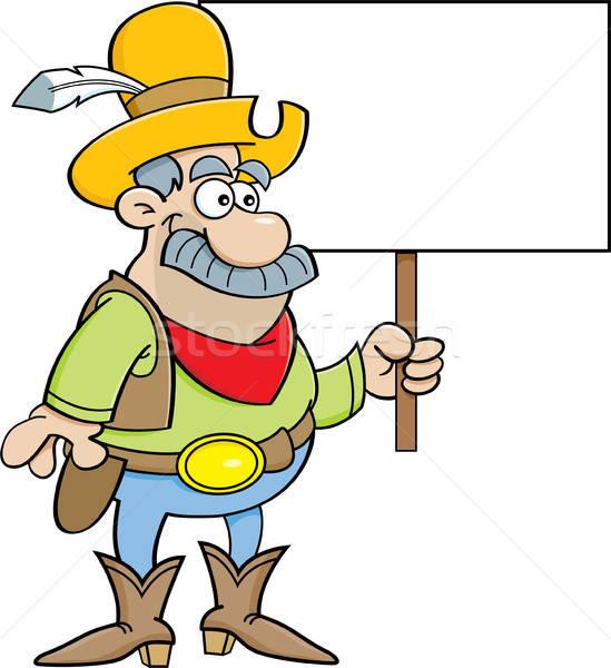 Cartoon Cowboy знак иллюстрация Сток-фото © bennerdesign