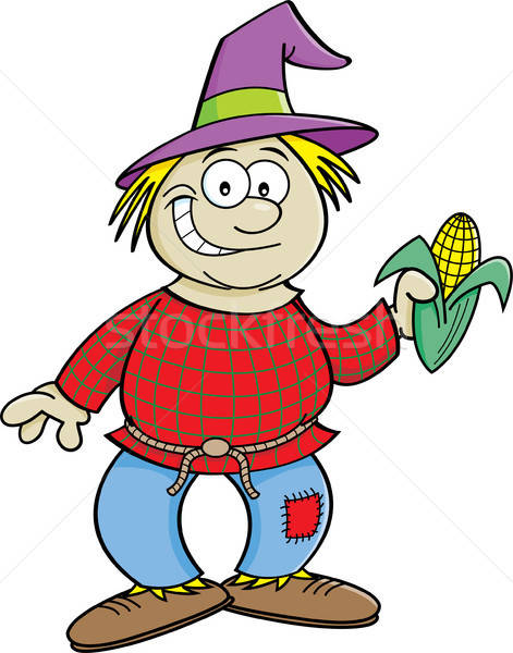 Cartoon пугало уха кукурузы иллюстрация Сток-фото © bennerdesign