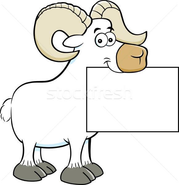 Karikatur Widder halten Zeichen Illustration Stock foto © bennerdesign
