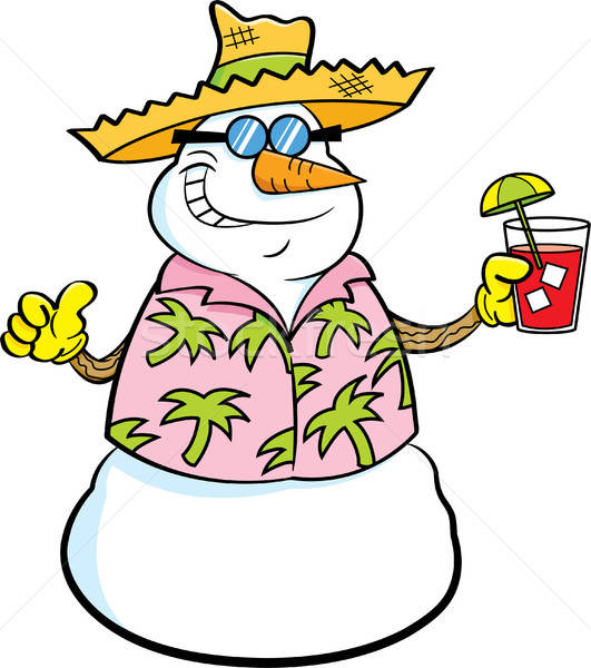 漫画 雪だるま 着用 麦わら帽子 トロピカルドリンク ストックフォト © bennerdesign