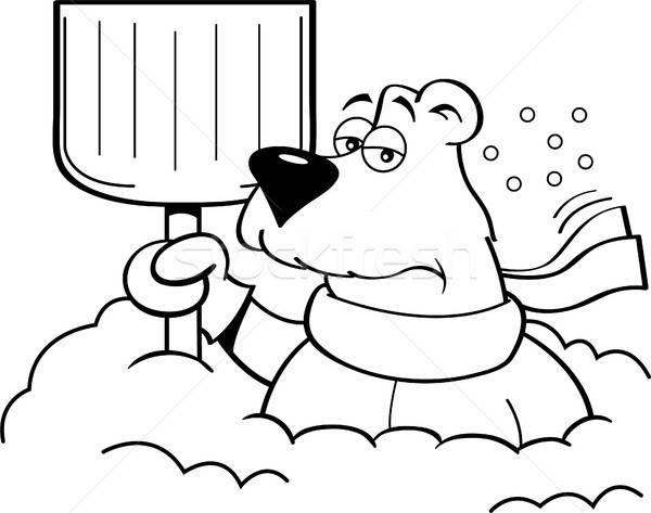 Cartoon niedźwiedzia polarnego śniegu łopata czarno białe Zdjęcia stock © bennerdesign
