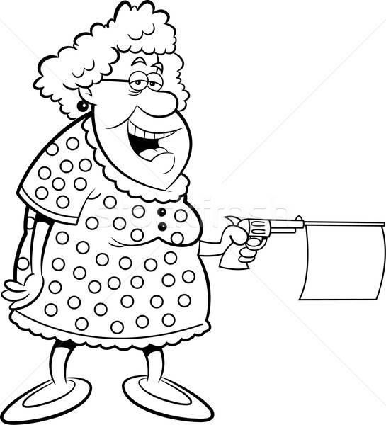 Cartoon old lady shooting a gun with message. Stock photo © bennerdesign