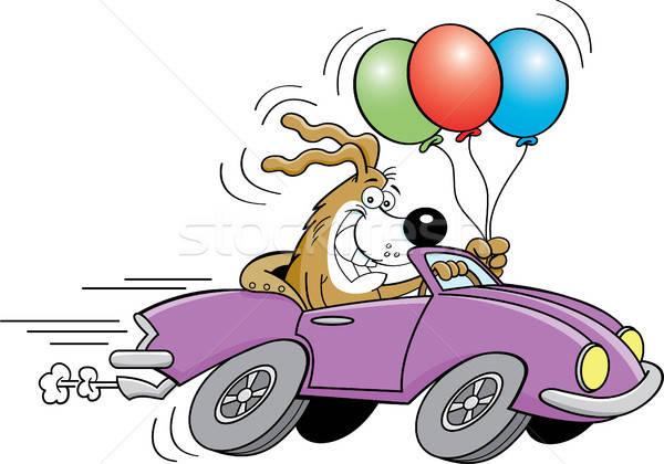 Cartoon собака автомобиль шаров иллюстрация Сток-фото © bennerdesign