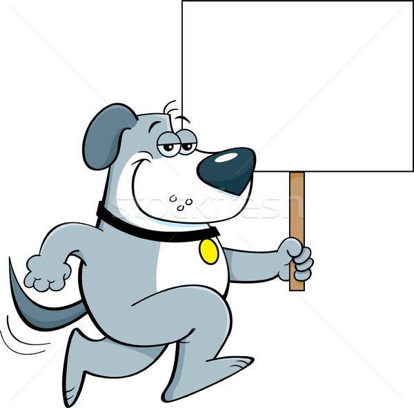 Cartoon Dog Running and Holding a Sign Stock photo © bennerdesign