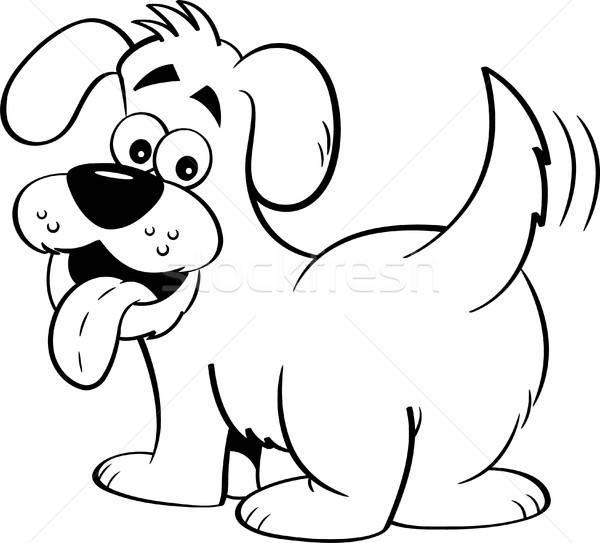 Karikatür mutlu köpek bakıyor geriye doğru siyah beyaz Stok fotoğraf © bennerdesign