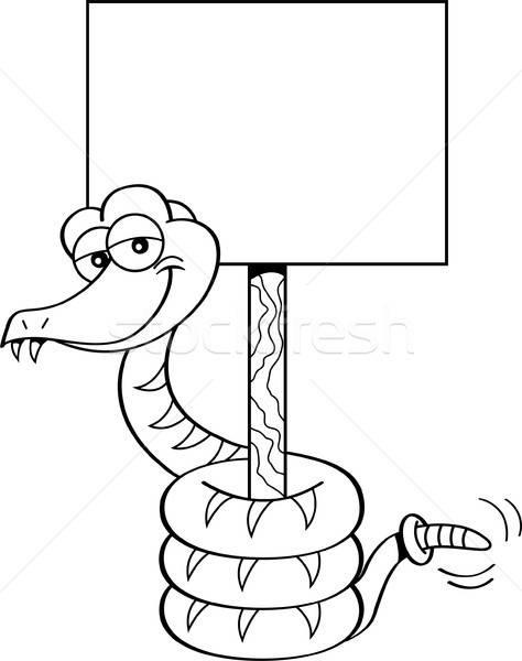 Cartoon snake holding a sign. Stock photo © bennerdesign