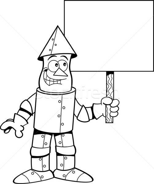 Cartoon tin man holding a sign. Stock photo © bennerdesign