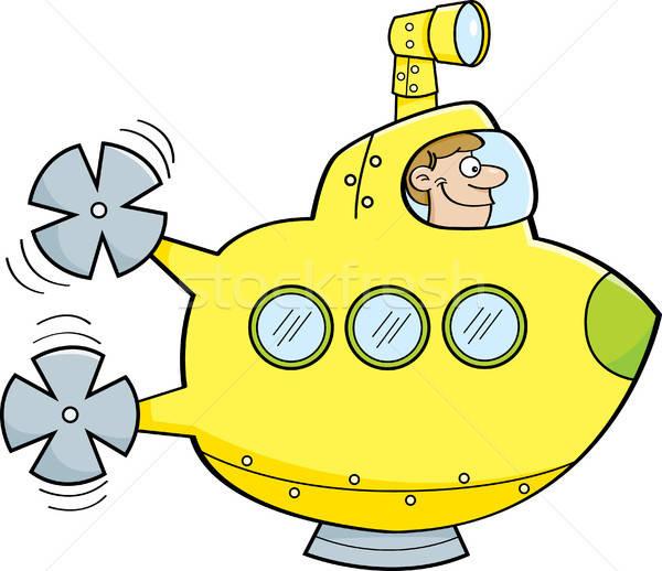 Cartoon człowiek podwodny ilustracja klip wektora Zdjęcia stock © bennerdesign