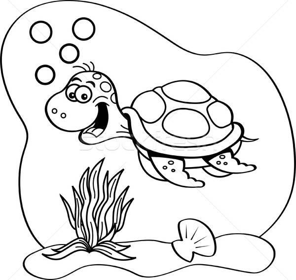 Cartoon морем черепахи плаванию подводного черно белые Сток-фото © bennerdesign