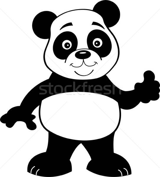 Cartoon panda bear giving thumbs up. Stock photo © bennerdesign