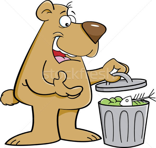 Cartoon bear looking in a garbage can. Stock photo © bennerdesign