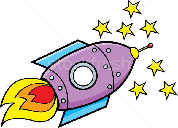 Cartoon astronave estrellas ilustración viaje funny Foto stock © bennerdesign