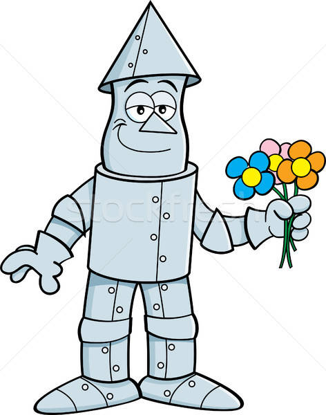 Cartoon tin man bloemen illustratie Stockfoto © bennerdesign