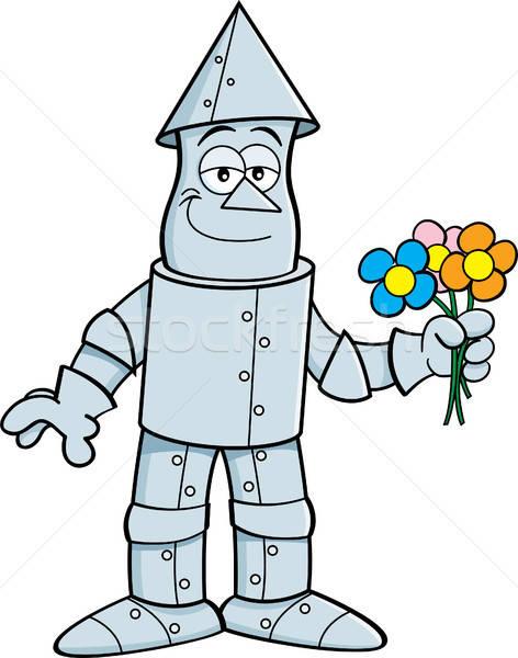 Cartoon Tin Man Holding Flowers. Stock photo © bennerdesign