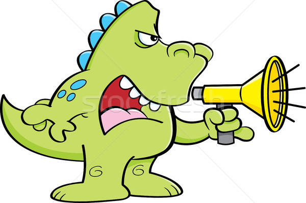 Desenho animado dinossauro megafone ilustração arte Foto stock © bennerdesign