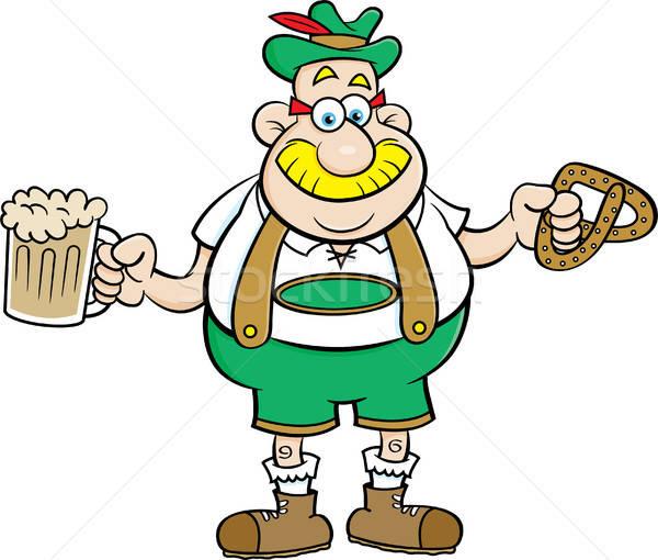 Cartoon человека пива кренделек иллюстрация Сток-фото © bennerdesign