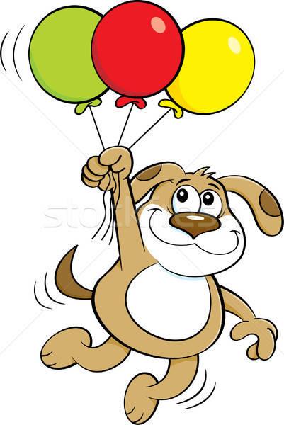 Cartoon собака шаров иллюстрация счастливым Сток-фото © bennerdesign