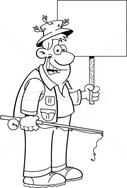 Cartoon visser teken zwart wit illustratie Stockfoto © bennerdesign